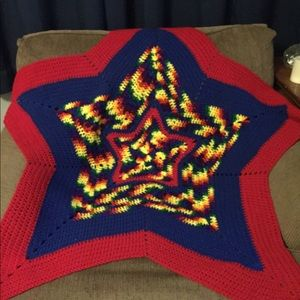 Handmade Crochet Star Blanket. Primary colors.